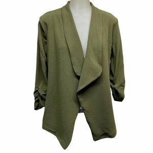 DOUBL JU Open Front Poly Spandex Olive Cardigan L